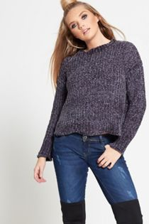 Grey crew neck velvet jumper