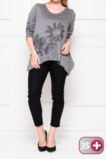 Plus Size Charcoal Long Sleeves Floral Detail Top
