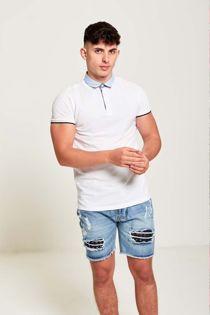 White Stripe Polo T-Shirt