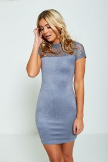 Blue Lace Top Bodycon Mini Dress
