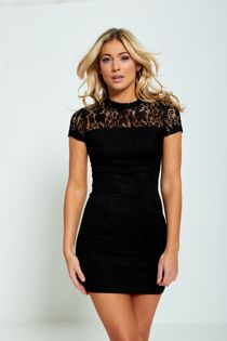 Black Lace Top Bodycon Mini Dress