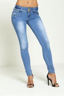 Light Denim Skinny Tri-Buttoned Skinny Jeans