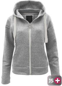 Double Plus Size Light Grey Basic Hooded Jacket
