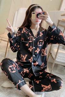 Black With Peach LV Printed Long Sleeve Satin Pajamas
