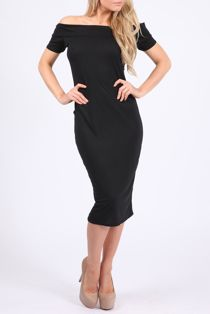 Black Jersey Bardot Mini Dress