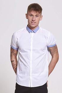 Blue Short Sleeve Slim Fit Shirt