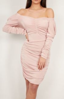 Nude Pink Extreme Ruched Detail Bodycon Dress