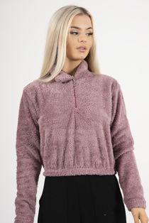 Pink Half Zip Borg Hoodie