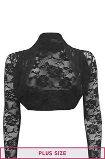 Plus Size Black Cropped Lace Bolero Shrug