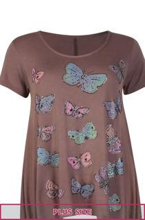 Plus Size Mocha Butterfly Printed Asymmetry Top