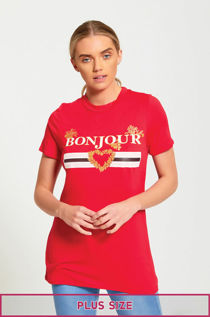 Plus Size Red Bonjour Love T-Shirt
