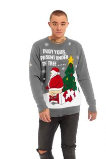Enjoy Your Present Under the Tree Fine Knitted Christmas Jumper