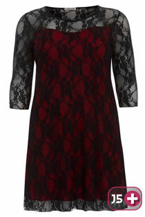 Plus Size Red Lace Mesh Overlay Dress