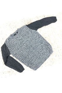 Kids Grey Ribbed Crew Neck With Contrast Sleeves Jumper
