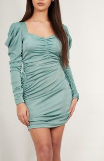 Sage Extreme Ruched Detail Bodycon Dress