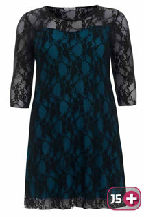 Teal Plus Size Lace Mesh Overlay Dress