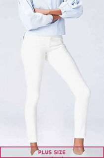 White Plus Size Five Pocket Basic Jeans