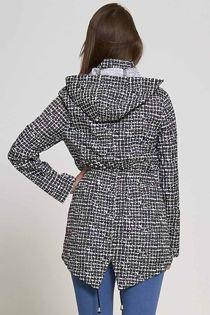 Checked Black Plus Size Rain Coat