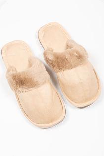 Camel Suede Mule Slippers