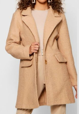 Beige Borg Teddy Button Coat