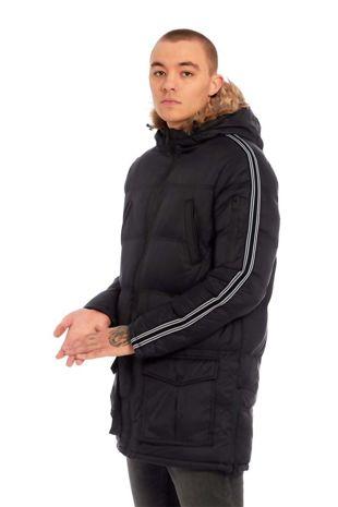 Black Arm Tape Long Line Padded Jacket