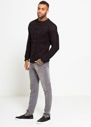 Black Braid Knit Long Line Jumper