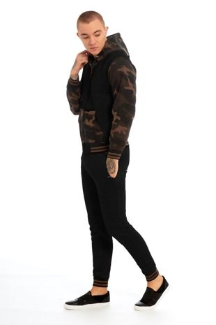 Black Camo Spliced Panel Skinny Fit Tracksuit