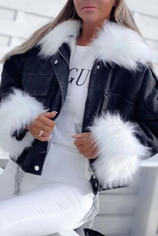 Black Detachable Faux Fur Denim Jacket