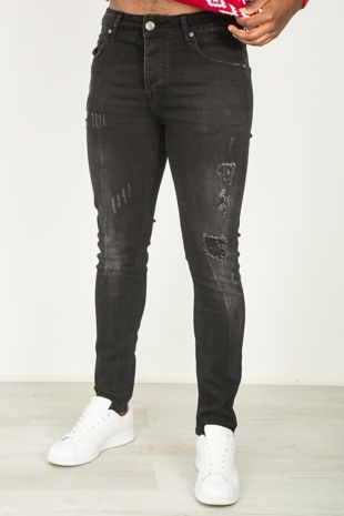 Black Distressed Skinny Fit Jeans