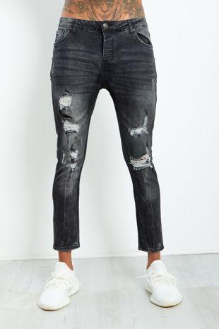 Black Extreme Distressed Denim Jeans