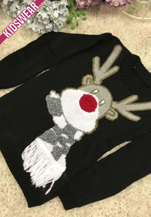 Black Kids Scarf Reindeer Knitted Christmas Jumper