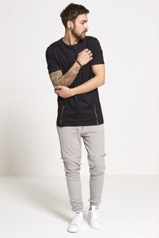 Black Longline Zipper T-Shirt