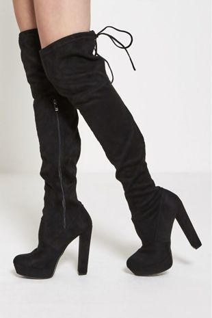 Black Over The Knee Faux Suede Heeled Boots