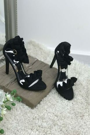 Black Party Prom Ruffle Frill Stilleto Heel