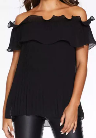 Black Pleated Double Layer Bardot Top