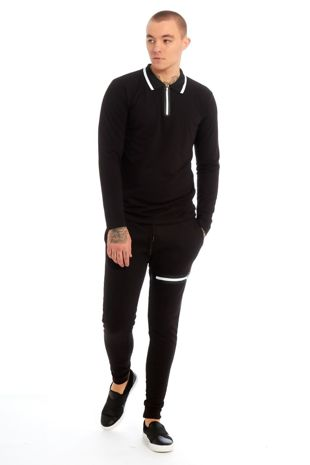 Black Polo Long Sleeve Skinny Fit Tracksuit