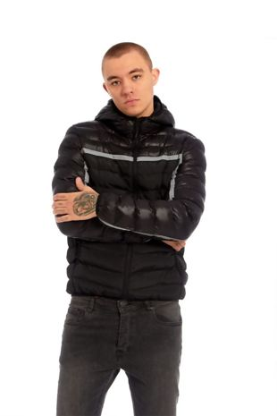Black Puffer Hooded Bomber Jacket