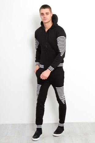 Black Retro Stripe Skinny Fit Tracksuit