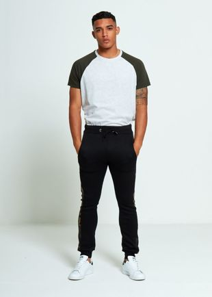 Black Skinny Fit Camo Stripe Jogging Bottom
