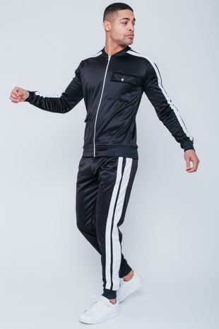 Black with White Tape Zip Up Tracksuit