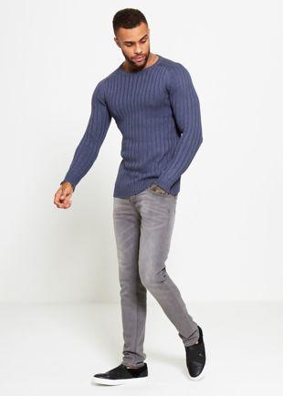 Blue Muscle Fit Fine Knit Jumper
