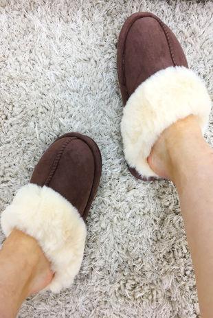 Brown Suede Mule Slippers