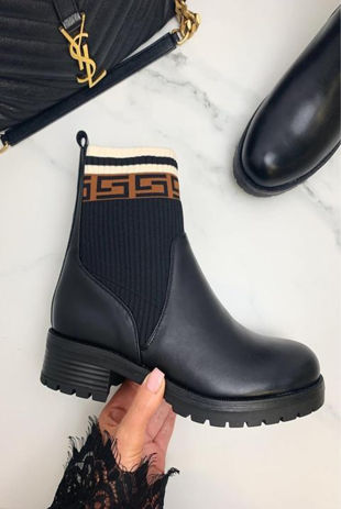 Black Faux Leather Printed Ankle Boots
