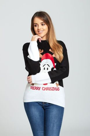 Black Suede Naughty Reindeer Merry Christmas Jumper