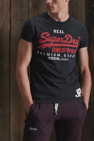 Black Superdry Vintage Logo Duo Tee