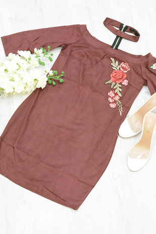 Burgundy Floral Print Choker Neck Dress
