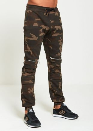 Camo Ribbed Zipper Jogging Bottom
