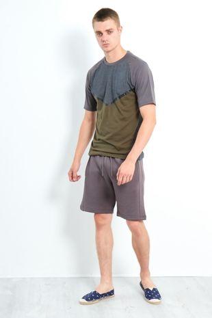 Charcoal Three-Tone Raglan Sleeve Shorts Set