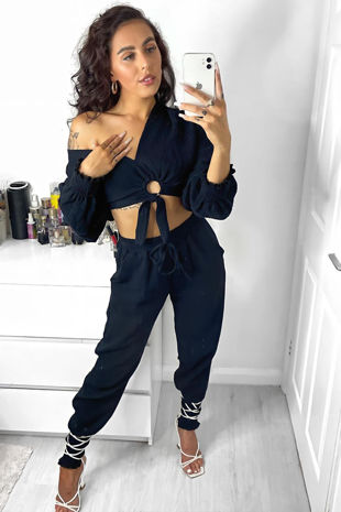 Cheesecloth Ring Front Tie Blouse And Joggers Co-Ord Set