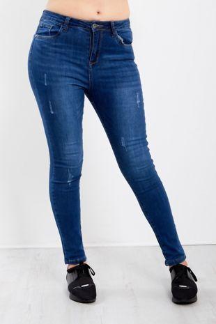 Dark Blue Frayed Skinny Jeans